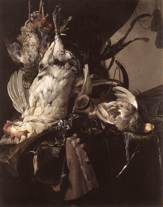 Still-Life of Dead Birds and Hunting Weapons, 1660 Aelst, Willem van Painting Reproductions