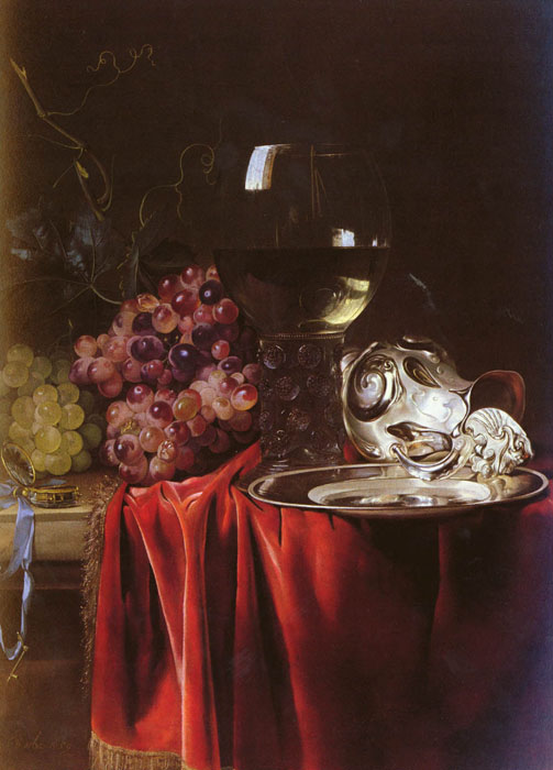 A Still Life of Grapes, a Roemer, a Silver Ewer and a Plate, 1659 Aelst, Willem van Painting Reproductions