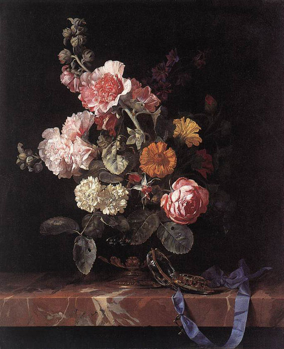 Vase of Flowers with Watch, 1656 Aelst, Willem van Painting Reproductions