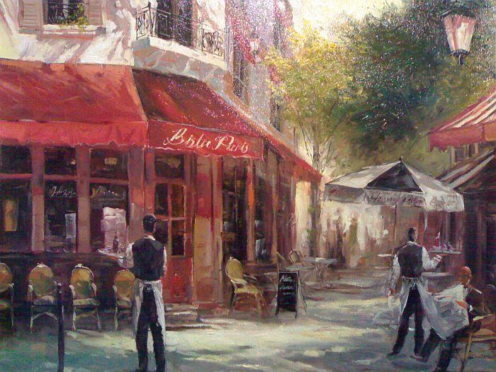 Paris Cafe, Original Painting Hand Painted on canvas